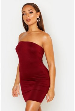 Womens Cranberry Bandeau Jersey Bodycon Dress