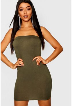 Khaki Bandeau Jersey Bodycon Dress