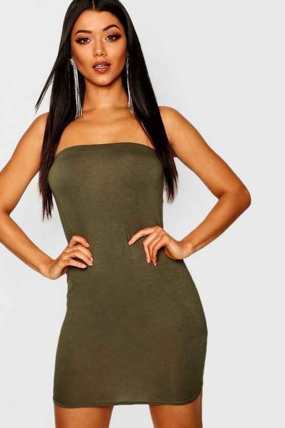 Womens Khaki Bandeau Jersey Bodycon Dress