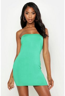 Womens Leaf green Bandeau Jersey Bodycon Dress