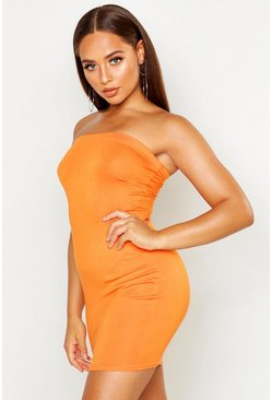 Womens Orange Bandeau Jersey Bodycon Dress