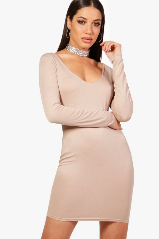 Steph Plunge Long Sleeved Bodycon Dress