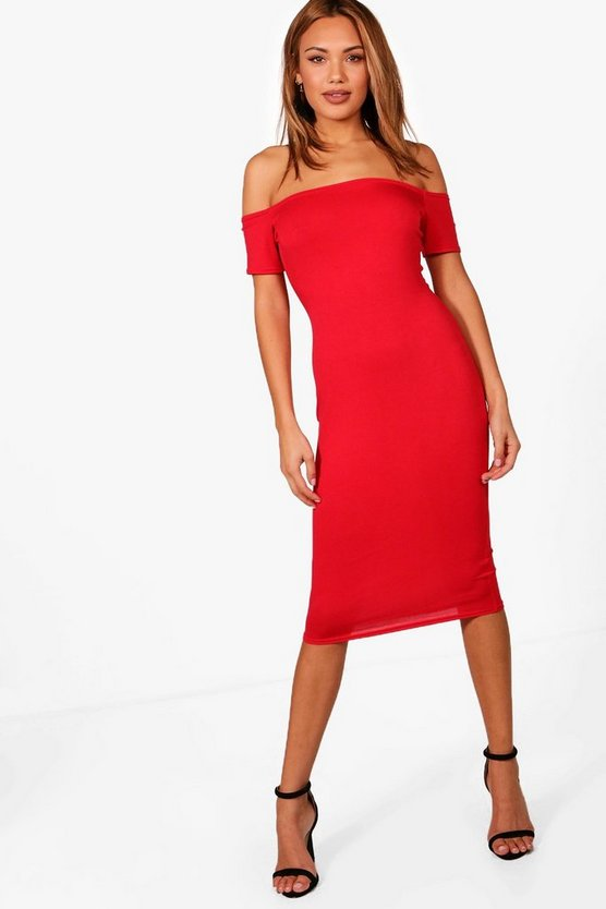Off The Shoulder Bodycon Midi Dress