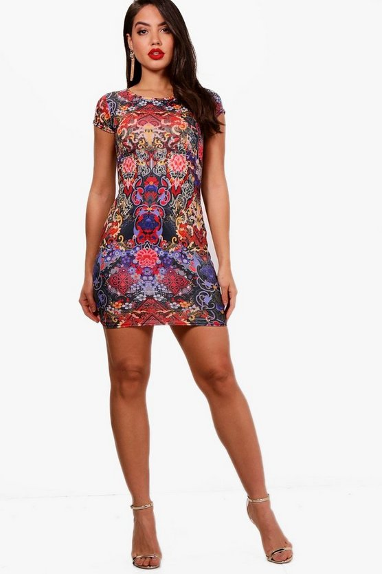Amilie Mix Print Cap Sleeve Bodycon Dress