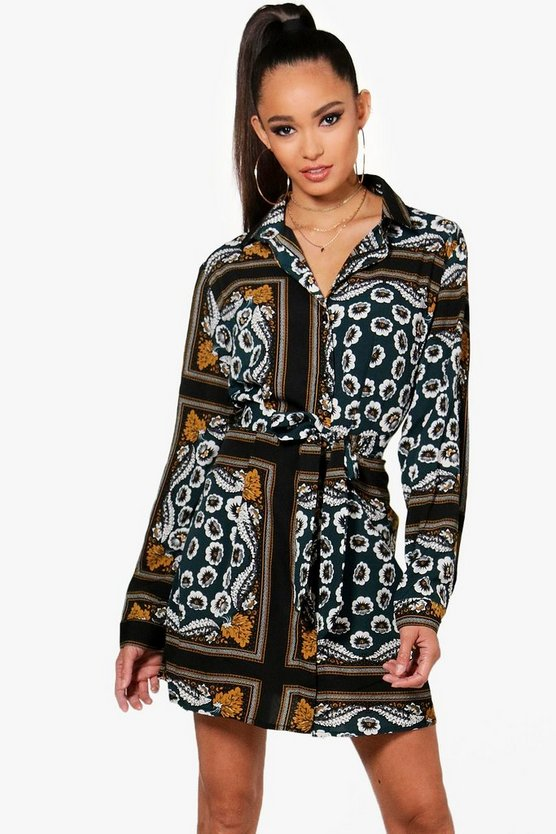 Paisley Print Tie Waist Shirt Dress