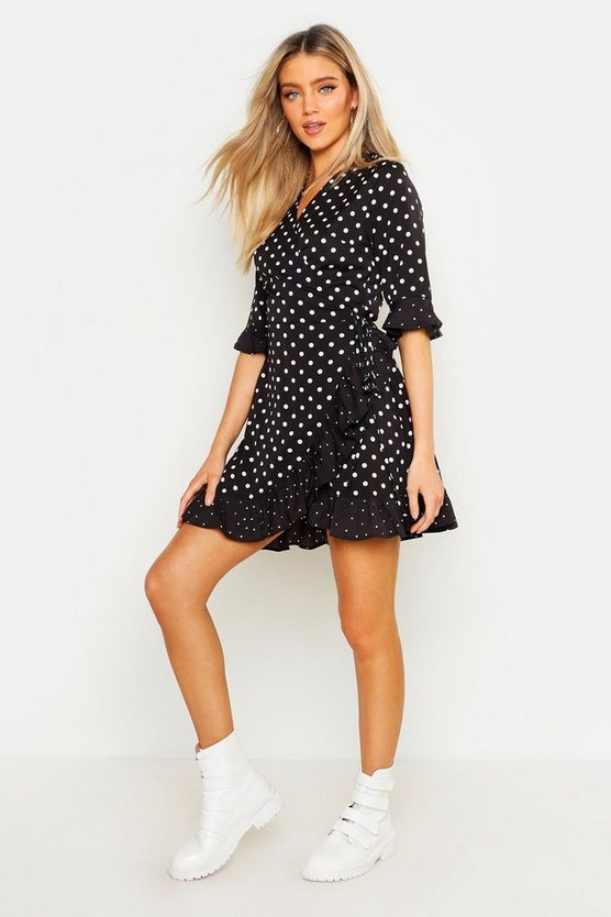 Mixed Polka Dot Wrap Front Tea Dress