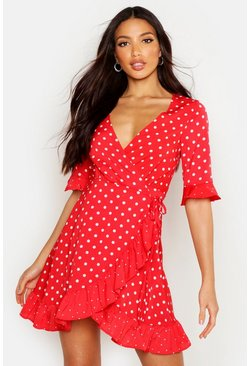 Womens Red Mixed Polka Dot Wrap Front Tea Dress