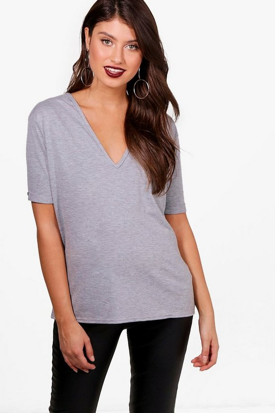 Womens Grey marl Basic Oversized V Neck T-Shirt