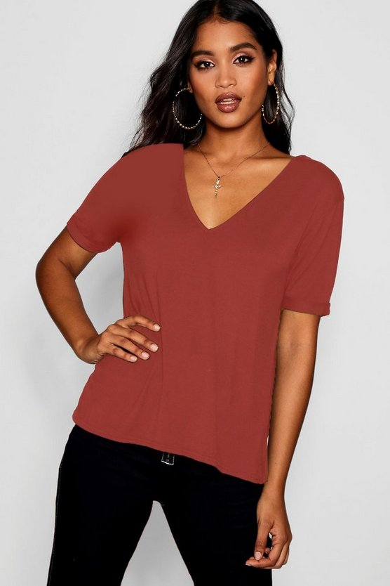 Basic Oversized V Neck T-Shirt