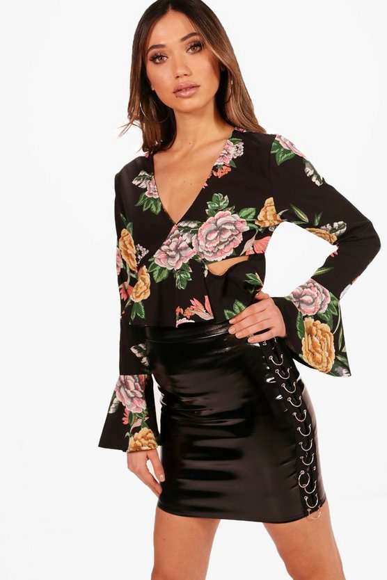 Floral Flare Sleeve Cut Out Blouse