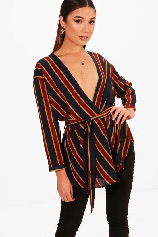 Navy Stripe Wrap Tie Waist Blouse