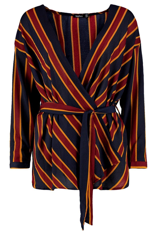 Stripe Waist Waist Tie Wrap Wrap Blouse Stripe Tie r8nfwqYxzr