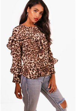 Womens Brown Leopard Print Ruffle Blouse