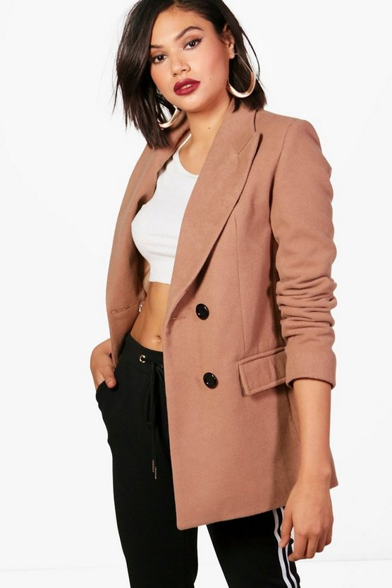 Womens Camel Double Breasted Short Wool Look Coat