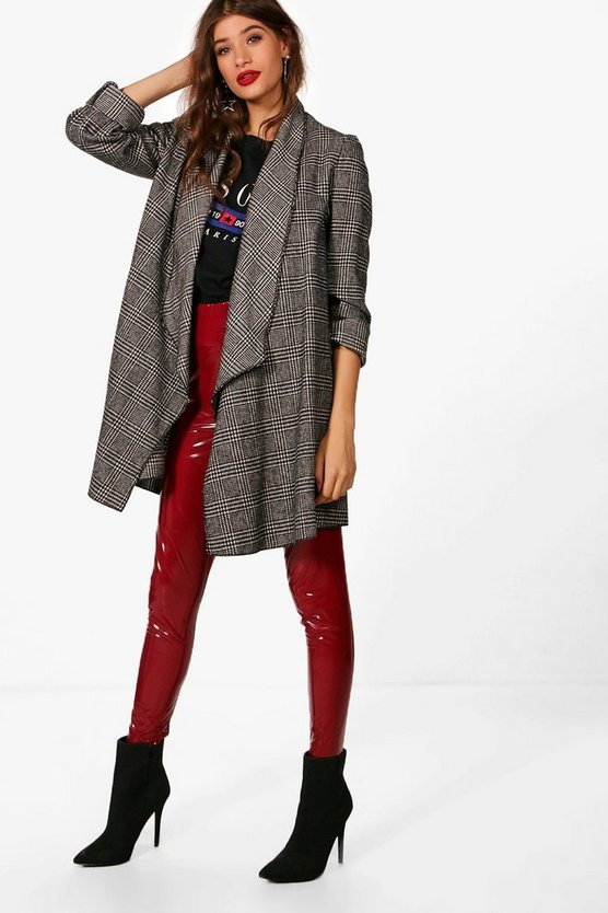 Check Waterfall Wool Look Coat