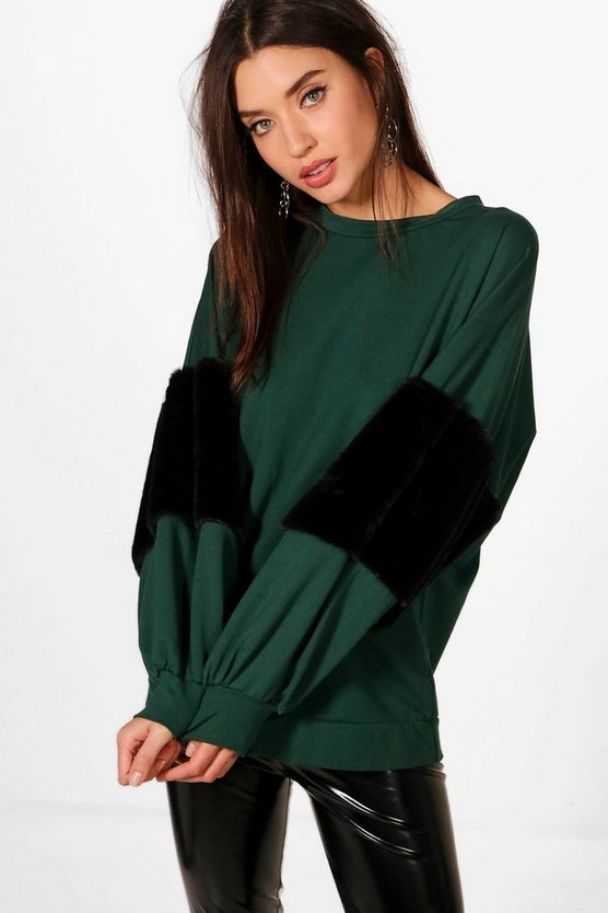 Oversized Faux Fur Sweat, Emerald, Donna