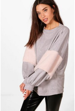 Womens Light grey Oversized Faux Fur Sweat
