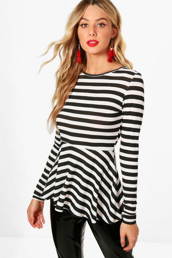 Anna Contrast Long Sleeve Stripe Peplum