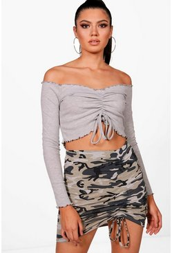 Womens Grey marl Ruched Front Lettuce Hem Crop Top
