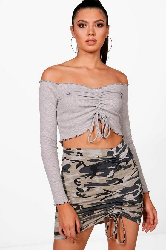 Ruched Front Lettuce Hem Crop Top