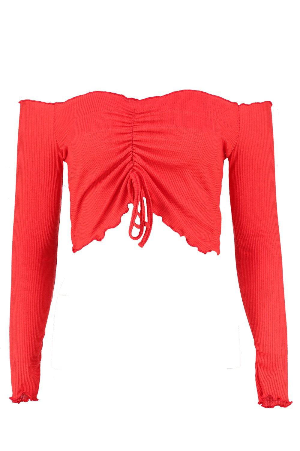 Front Hem Ruched Crop Lettuce Top red wffERdq