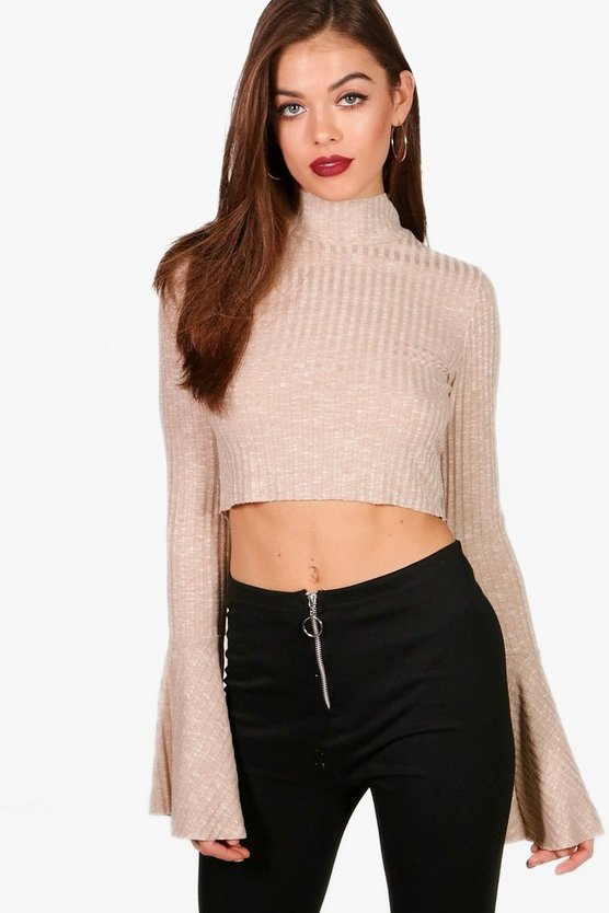 Fluted Sleeve High Neck Top