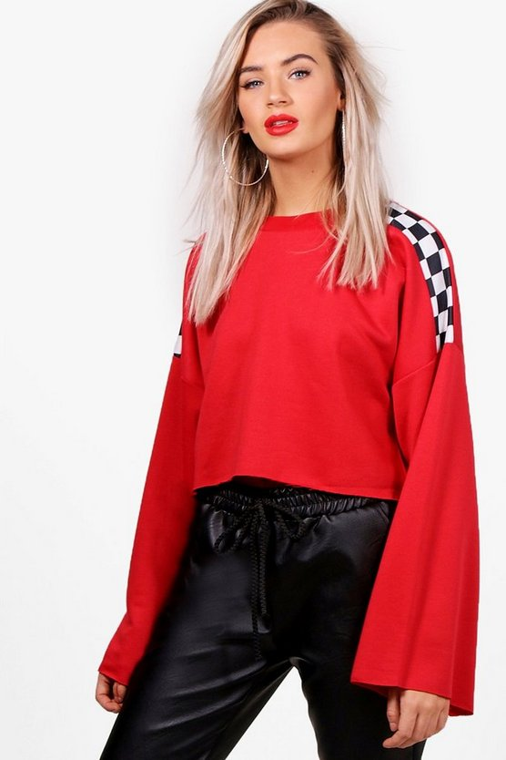 Checkboard Shoulder Flare Sleeve Sweat