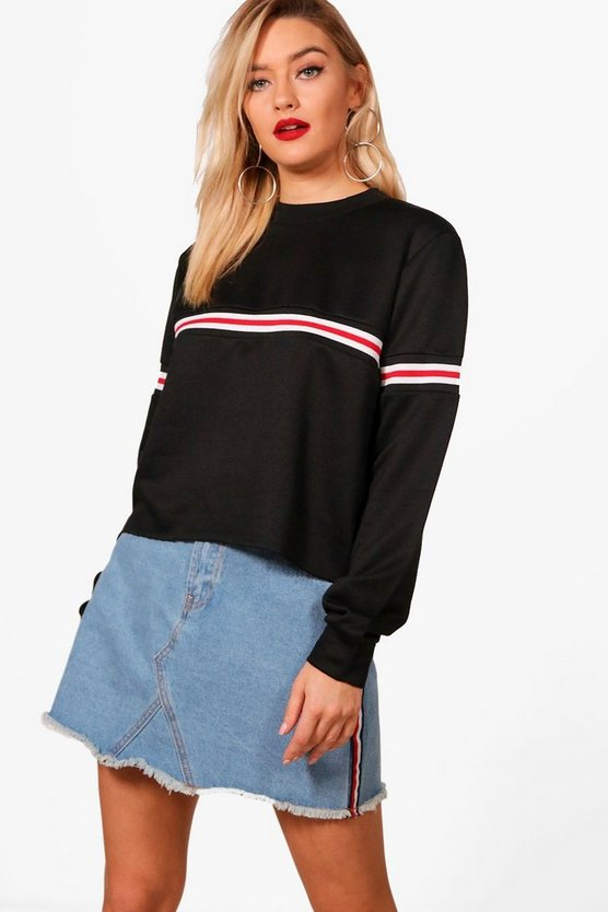 Sports Rib Stripe Crop Sweat