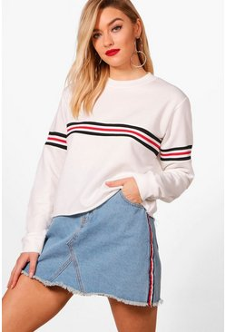 Womens White Sports Rib Stripe Crop Sweat