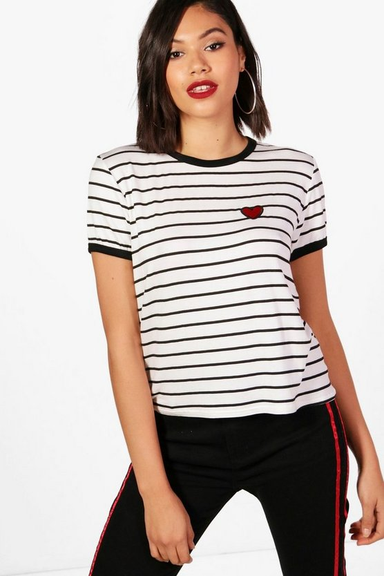 Heart Emroidered Stripe Tee