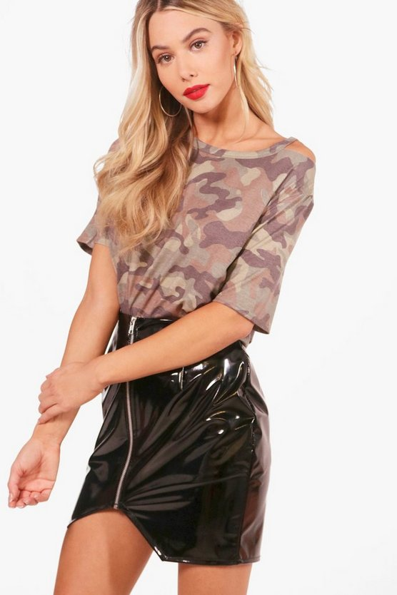 Alice Camo Oversized Cold Shoulder Tee