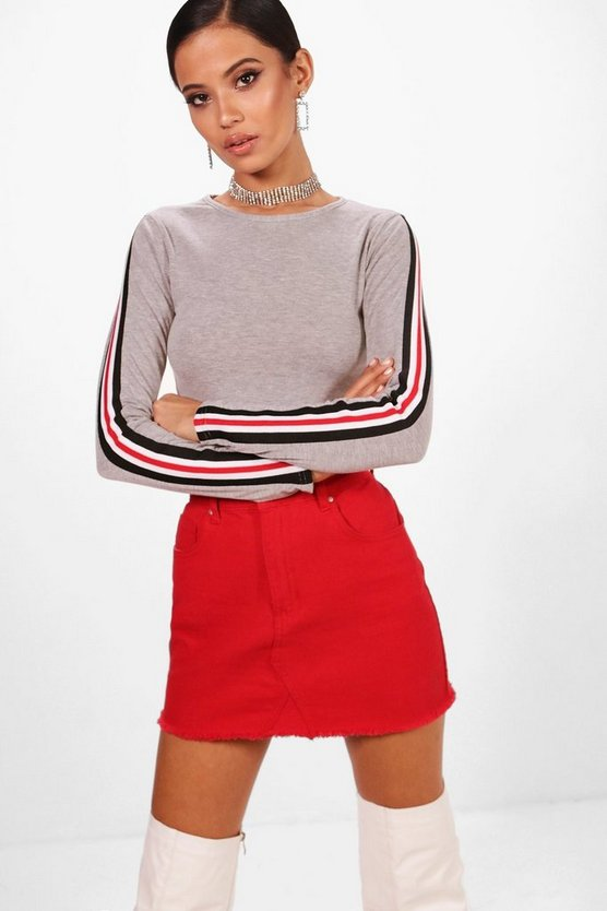 Long Sleeved Sports Rib Trim Crop