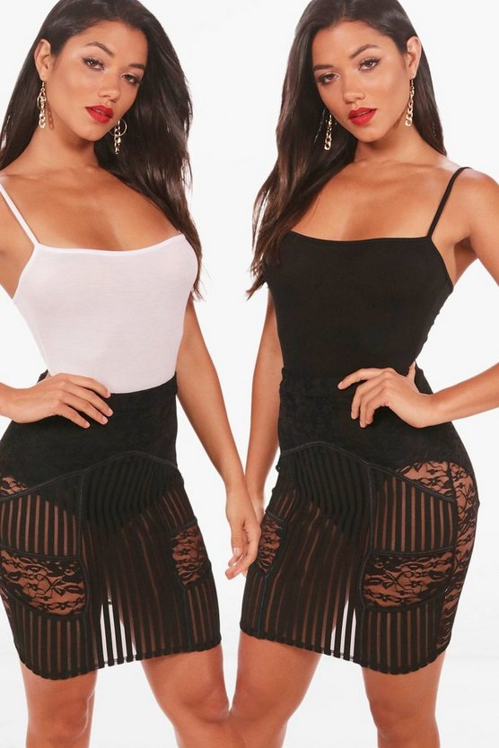 2 Pack Square Neck Bodysuit, Blackwhite, Donna