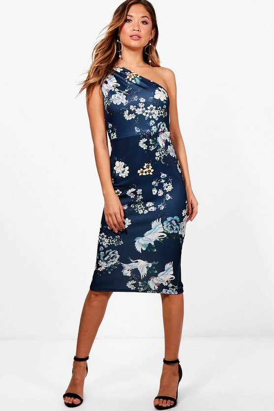 Floral One Shoulder Midi Dress