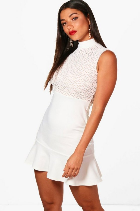 High Neck Lace Frill Hem Bodycon Dress