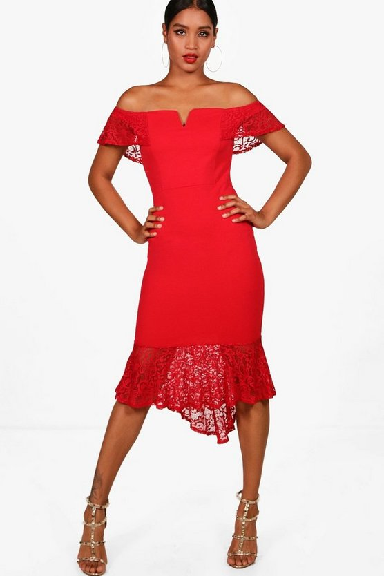 Womens Red Lace Frill Off the Shoulder Midi Dress