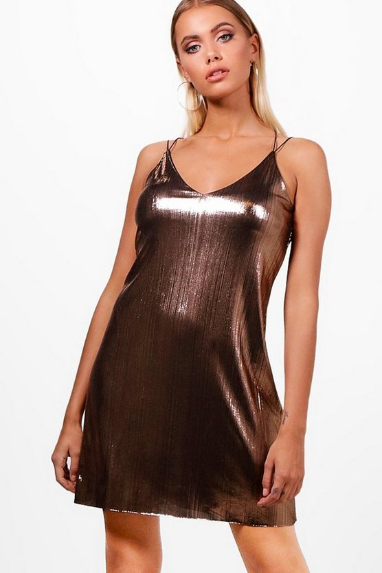 Metallic Strappy Slip Dress