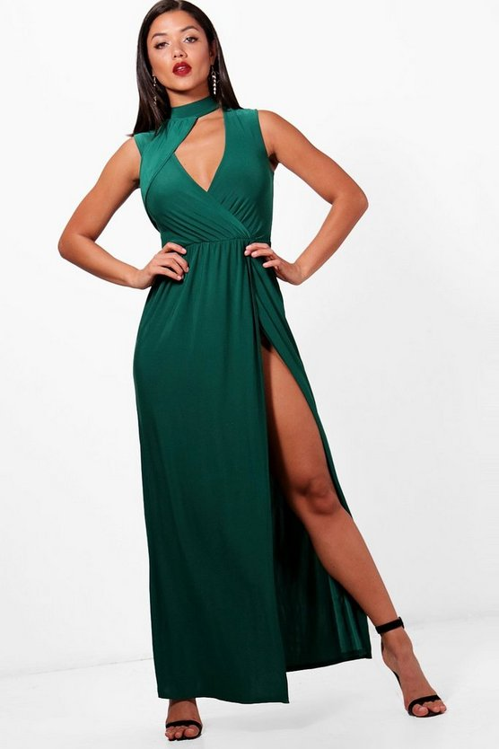 Choker One Shoulder Split Leg Maxi Dress