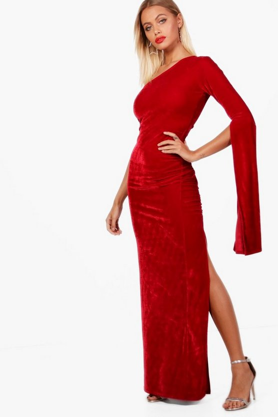 Velvet One Shoulder Maxi Dress