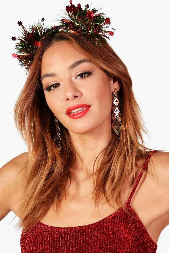Holly Tinsel Stars Pom Christmas Headband