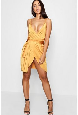 Wrap Belted Bodycon Dress, Amber, Donna