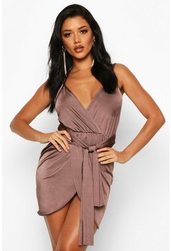 Womens Chocolate Wrap Belted Bodycon Dress