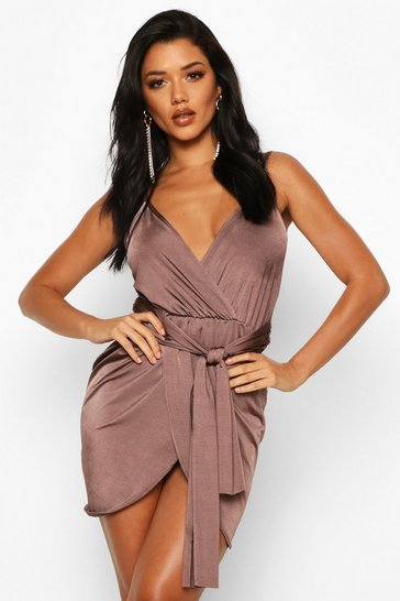 Chocolate Wrap Belted Bodycon Dress