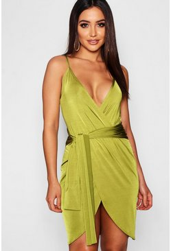 Womens Olive Wrap Belted Bodycon Dress