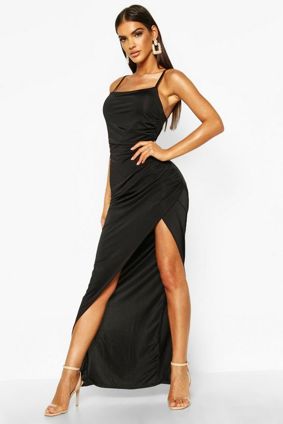 Womens Black Strappy Square Neck Wrap Maxi Dress
