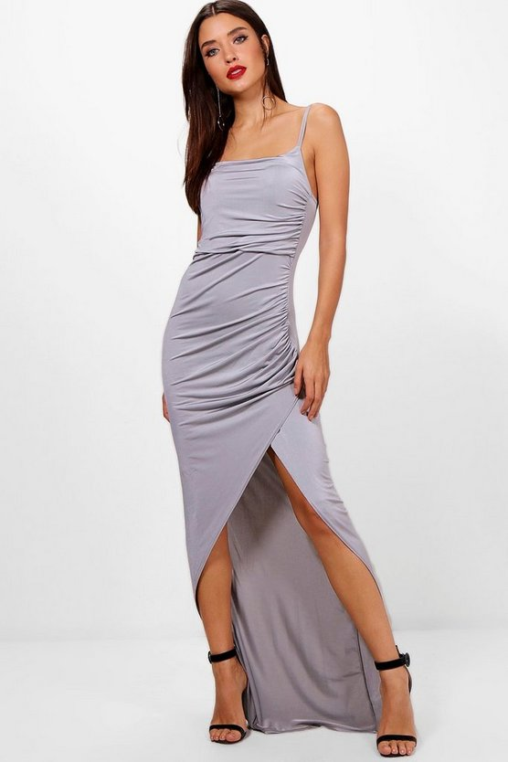 Womens Grey Strappy Square Neck Wrap Maxi Dress