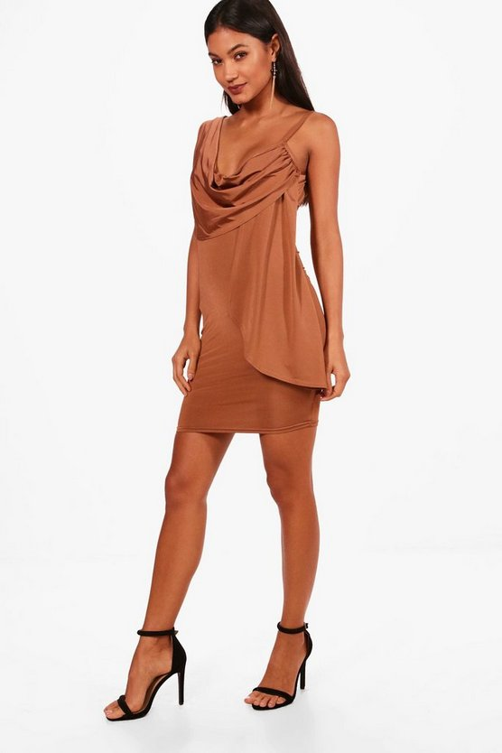 Strappy Drape Bodycon Dress