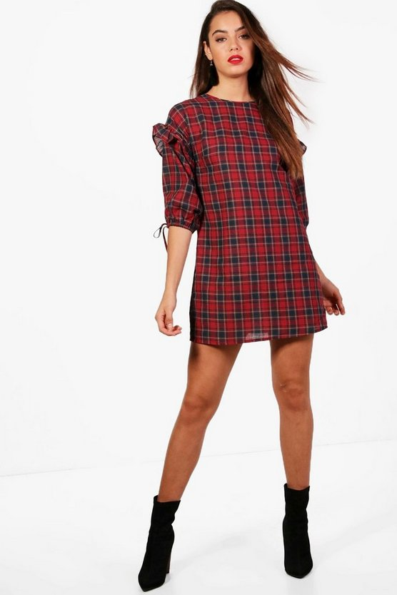 Checked Tie Detail Shift Dress