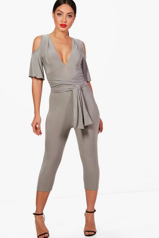 Lacey Plunge Gathered Belt Capri Length Jumpsuit