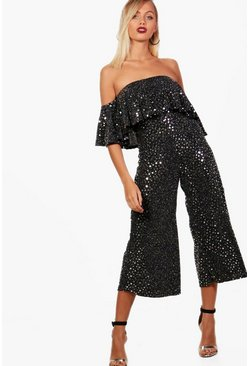 Black Star Metallic Frill Culotte Jumpsuit
